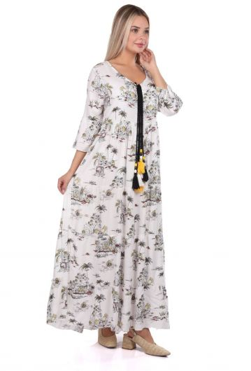 Платье Markapia с кисточками и рисунком - Thumbnail