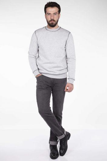 Markapia Stitch Detail Crew Neck Sweatshirt - Thumbnail