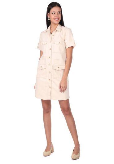 فستان جينز ماركابيا بأكمام قصيرة - Thumbnail