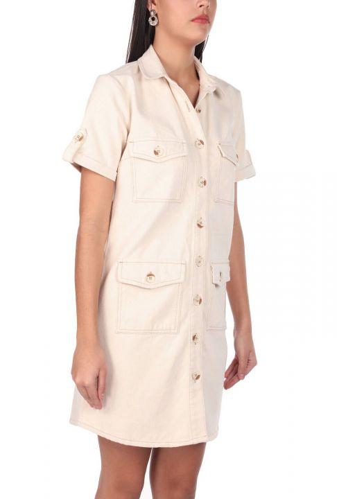فستان جينز ماركابيا بأكمام قصيرة