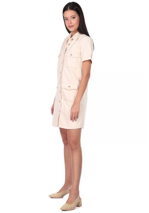 Джинсовое платье с короткими рукавами Markapia