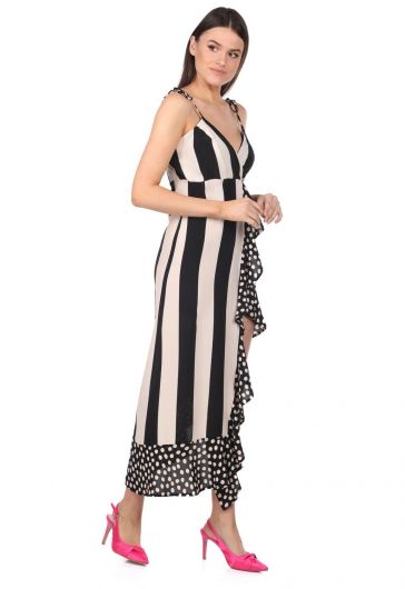 MARKAPIA WOMAN - Markapia Striped Polka Dot Pattern Asymmetric Dress (1)