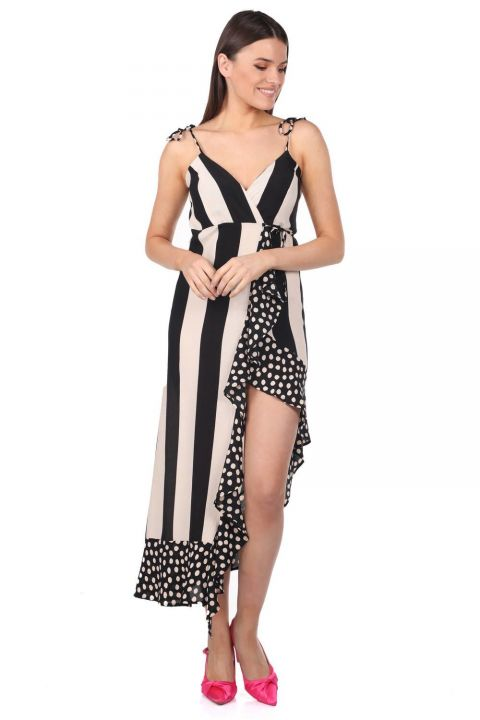 Markapia Striped Polka Dot Pattern Asymmetric Dress