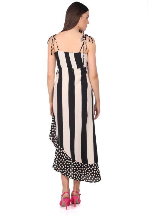 Асимметричное платье в полоску в горошек Markapia