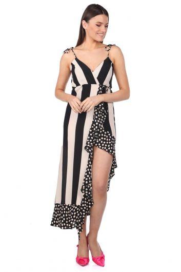 Асимметричное платье в полоску в горошек Markapia - Thumbnail