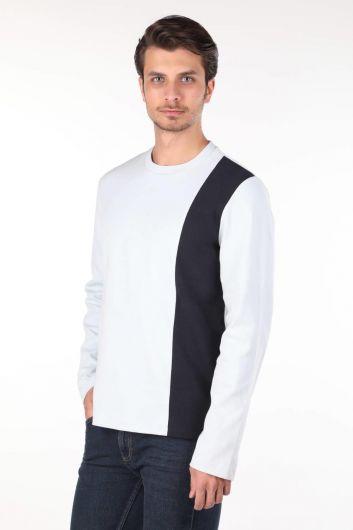 Markapia Siyah Şeritli Uzun Kollu Bisiklet Yaka T-shirt - Thumbnail