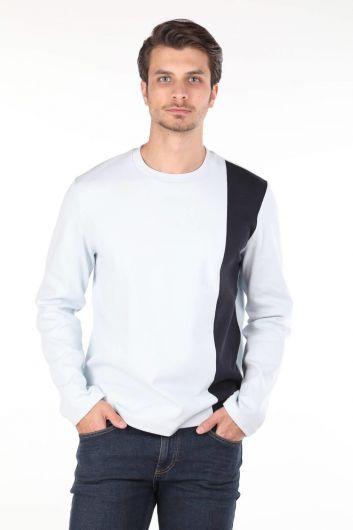 Черная футболка с круглым вырезом и длинным рукавом в полоску Markapia - Thumbnail