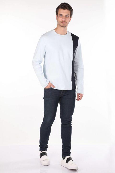 Черная футболка с круглым вырезом и длинным рукавом в полоску Markapia