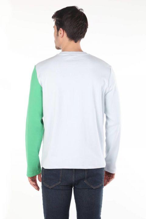تي شيرت ماركابيا أخضر بأكمام طويلة ورقبة دائرية للرجال