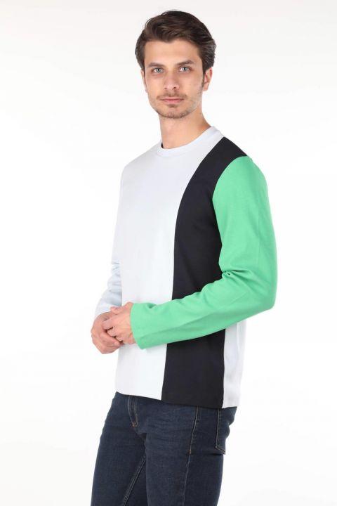 Зеленая мужская футболка с круглым вырезом Markapia с длинным рукавом