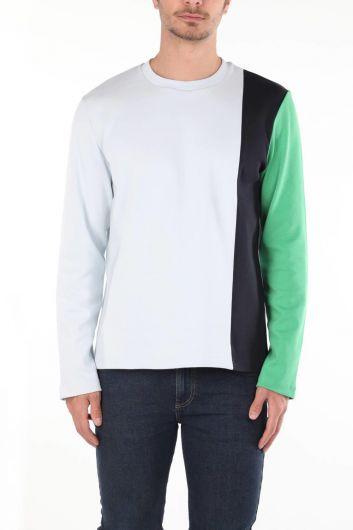 Зеленая мужская футболка с круглым вырезом Markapia с длинным рукавом - Thumbnail