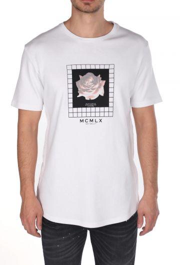 Markapia Çiçek Baskılı Bisiklet Yaka T-Shirt - Thumbnail