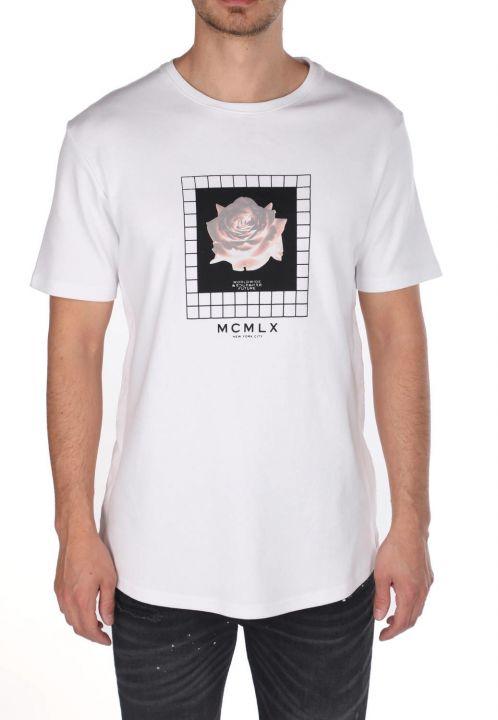 Markapia Çiçek Baskılı Bisiklet Yaka T-Shirt