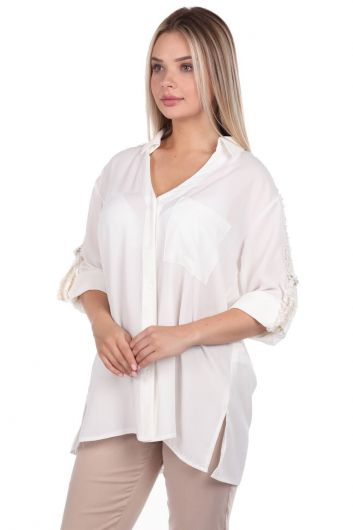 MARKAPIA WOMAN - Markapia Sleeve Detailed Plain Shirt (1)