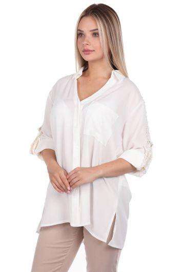 MARKAPIA WOMAN - قميص سادة مزين بأكمام ماركابيا (1)