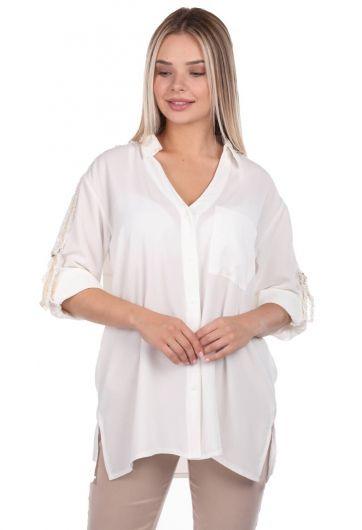 Markapia Kol Detaylı Düz Gömlek - Thumbnail