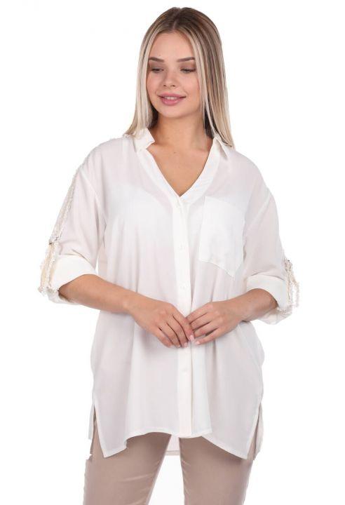 Markapia Kol Detaylı Düz Gömlek