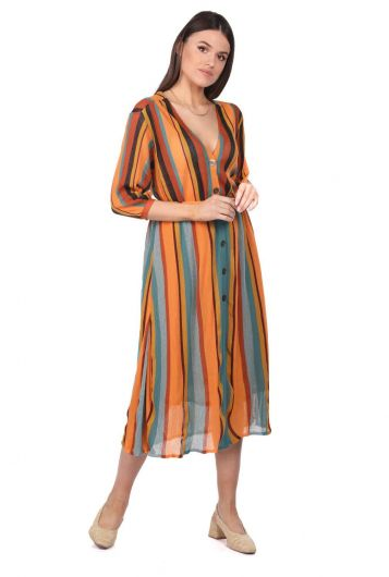 Markapia Vertical Striped Blouse - Thumbnail