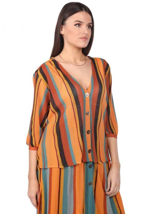 Markapia Vertical Striped Blouse