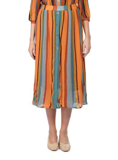 Markapia Vertical Striped Midi Skirt - Thumbnail