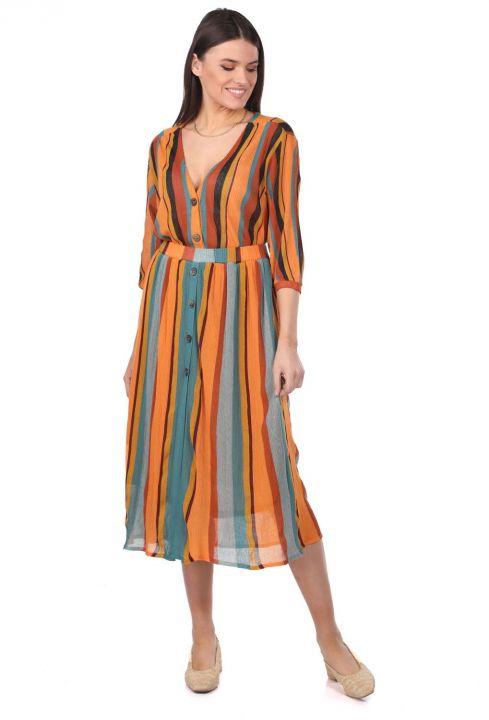 Markapia Vertical Striped Midi Skirt