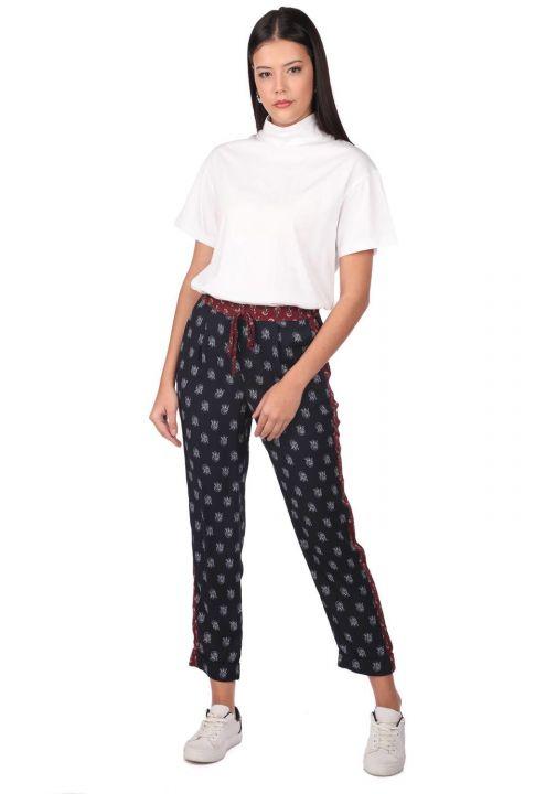 Markapia Women's Navy Blue Patterned Trousers
