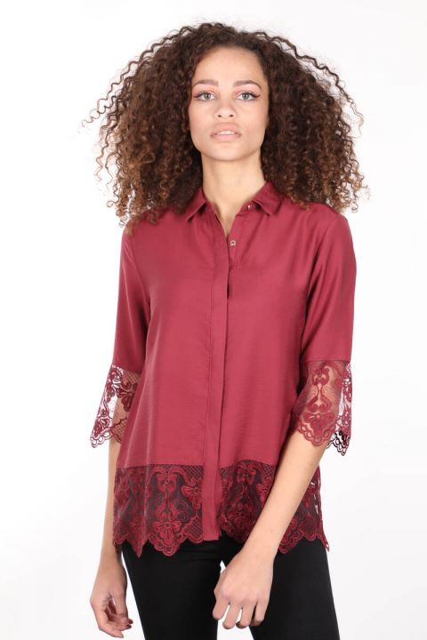 Burgundy Laced Buttoned Double-Plapped Women's Shirt