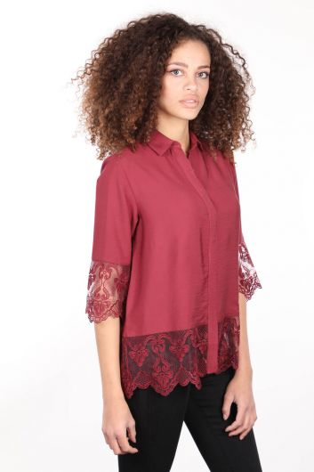 Burgundy Laced Buttoned Double-Plapped Women's Shirt - Thumbnail