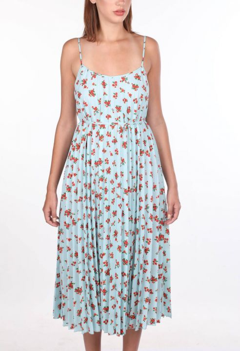 İnce Askılı Çiçek Desenli Mavi Akordiyon Elbise