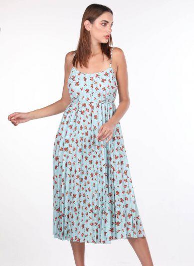 İnce Askılı Çiçek Desenli Mavi Akordiyon Elbise - Thumbnail