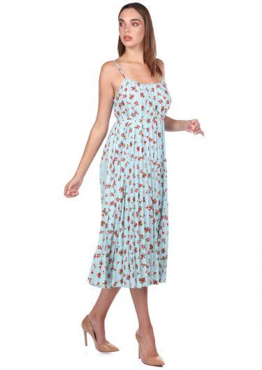 MARKAPIA WOMAN - İnce Askılı Çiçek Desenli Mavi Akordiyon Elbise (1)