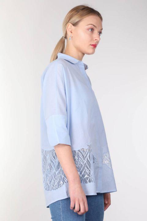 Mavi Güpür Detaylı Yarasa Kol Kadın Gömlek