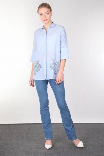 Mavi Güpür Detaylı Yarasa Kol Kadın Gömlek - Thumbnail