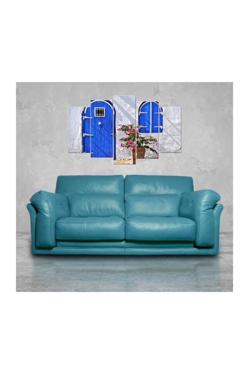 Mavi Kapılı 5 Parçalı Mdf Tablo-3156
