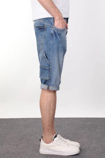 Banny Jeans - Mavi Parçalı Arka Cep Detaylı Erkek Kapri (1)