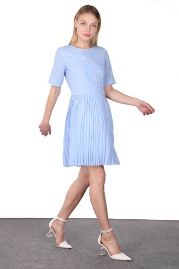 MARKAPIA WOMAN - Blue Pleated Ribbed Detailed Short Sleeve Women's Dress (1)