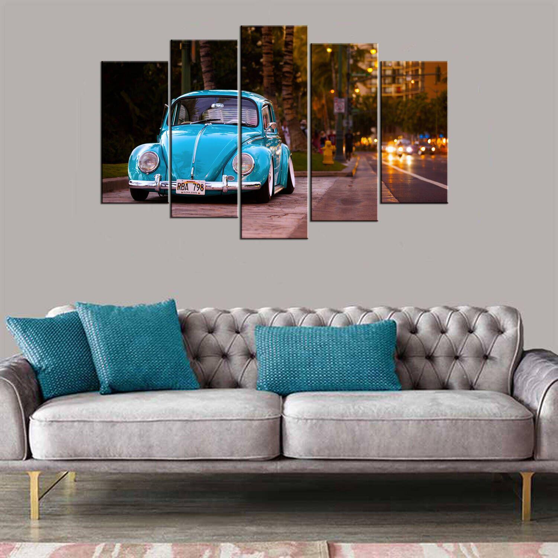 Mavi Vosvos Araba 5 Parçalı Mdf Tablo
