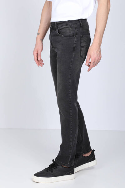 BLUE WHITE - بنطلون جينز أسود بقصة مستقيمة للرجال (1)