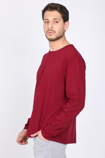 MARKAPIA - Мужская бордовая краснаяфутболка скруглым вырезом и длинным рукавом (1)
