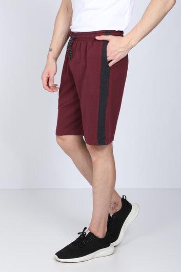 MARKAPIA - Мужские шорты с двумя нитками бордового цвета с тесьмой по бокам (1)