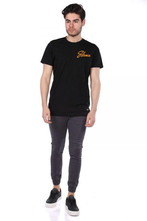 Silence Lettering Black Men's Crew Neck T-Shirt