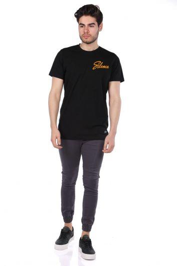 MARKAPIA - Черная мужская футболка с круглым вырезом Silence Lettering (1)
