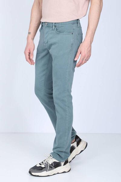 BLUE WHITE - بنطلون جينز أخضر مريح للرجال (1)