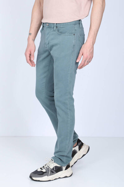 BLUE WHITE - Men's Green Comfort Fit Jean Trousers (1)