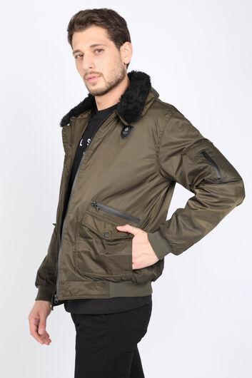MARKAPIA - معطف فرو ذو ياقةكاكيللرجال (1)