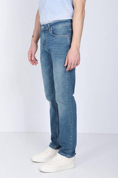 BLUE WHITE - Мужские голубые джинсы прямого кроя (1)
