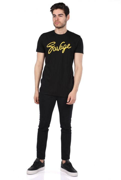 Men's Black Crew Neck T-Shirt with Savage Lettering