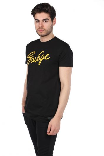 MARKAPIA - Men's Black Crew Neck T-Shirt with Savage Lettering (1)