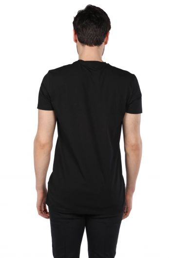 Men's Black Crew Neck T-Shirt with Savage Lettering - Thumbnail