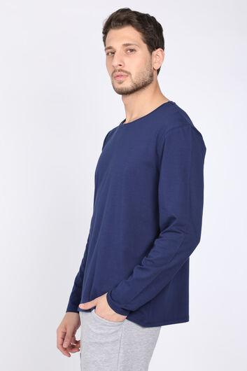 MARKAPIA - Мужская темно-синяяфутболка сдлинным рукавом с круглым вырезом (1)